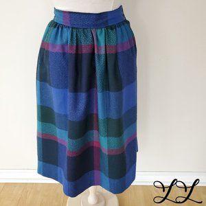 Vintage Evan Picone Skirt Blue Pink Green Wool